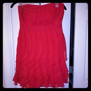 Flattering red strapless cocktail dress